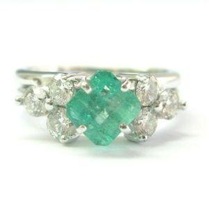Jewelry - Natural Colombian Green Emerald & Diamond Platinum